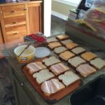 The sandwich making process.